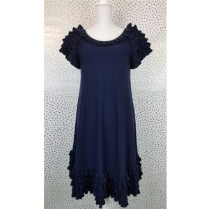 French Connection | Navy Ruffled Sweater Dress